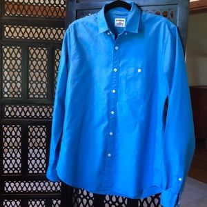Express Shirts - Express blue fitted long sleeve shirt